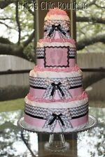 Four Tier Pink & Gray Chevron Baby Diaper Cake For Baby Shower Or Hospital Gift