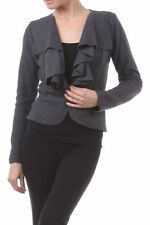 Wool Blend Cropped Jacket Ruffle Front Button Close Coat Charcoal Gray NEW JR SZ