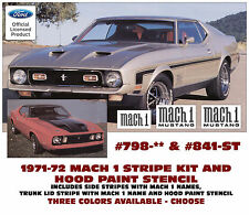 798 & 841-ST 1971-72 MUSTANG MACH 1 COMPLETE STRIPE & NAMES - HOOD PAINT STENCIL