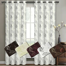 Olivia Window Curtain Panels Pair (Set of 2) Embroidered Lined Grommet