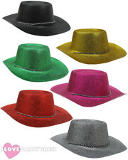 GLITTER COWBOY HAT WILD WESTERN COWGIRL HEN STAG PARTY HOLIDAY CHOOSE COLOUR