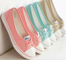 New Candy Colors Women Girls Low Top Loafer Canvas Shoes Sneaker Soft Flat Shoes