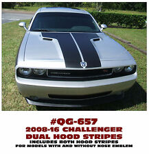QG-657 2008-16 DODGE CHALLENGER - DUAL HOOD STRIPES - with / without EMBLEM