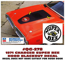 QG-278 1971 DODGE CHARGER - SUPER BEE BLACKOUT HOOD DECAL - MULTI COLOR BEE