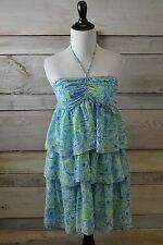 New! Voyage Blue Yellow Green Peacock Print Ruffle Dress (XS,S,M)