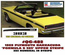 QG-482 1969 PLYMOUTH BARRACUDA - FORMULA S 383 - UPPER SIDE STRIPE - 383