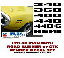 QG-707 709 711 713 715 717  1971-71 PLYMOUTH - ROAD RUNNER GTX - FENDER DECALS