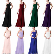 Ladies Long Bridesmaid Dress Wedding One Shoulder Chiffon Prom Ball Gown UK6-18