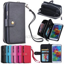 Zipper Leather Wristlet Clutch Handbag Wallet Case For Samsung Galaxy S & Note