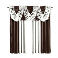 Chocolate & White Soho Faux Silk Window Treatment Panels or Waterfall Valances