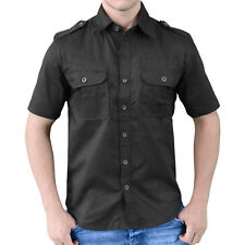 Surplus Plain Summer Casual Security Mens Shirt Short Sleeve Military Look Black
