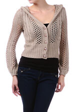 Cute Cropped Crochet Sweater Crop Knit Button Down Cardigan Hoodie Beige Jr S L