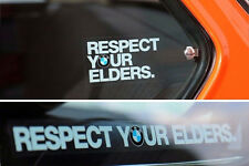 Respect Your Elders BMW Decal EURO Sticker (x2) for windshield or quarter glass