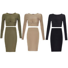 Womens Ladies Celebrity Style Knotted Crop Top Bodycon Skirt Midi Dress Co-Ord