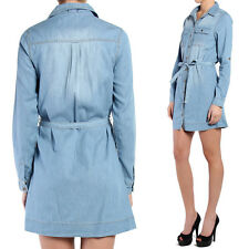 TheMogan Tab Long Sleeve Flap Pocket Belted Washed Denim Shirt Dress
