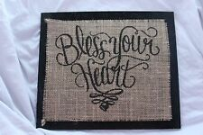 Handmade Burlap Wood Sign. Bless Your Heart