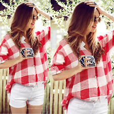 Women Summer Button Down Shirt Plaids & Checks Flannel Casual Shirts Tops Blouse