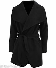Ladies Short Waterfall Trench Crepe Coat Draped Material Belted Jacket Must-have