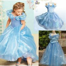 2015 Blue Sandy Girl Cinderella Princess Cosplay Costume Kids Fancy Party Dress