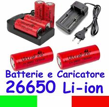 Batterie e Caricabatterie Li-Ion 3,7V Formato 26650 Batteries and Charger 18650