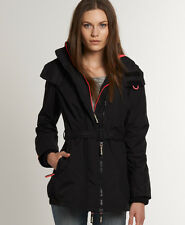 New Womens Superdry Pop Zip Wind Mac Jacket Black