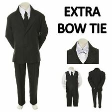 New Baby Toddler Boy Black Formal Wedding Party Suit Tuxedo+ White Bow Tie S-4T