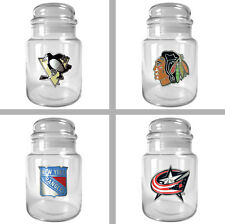 Choose Your NHL Team 31oz Glass Candy Jar Container with Lid by Great American
