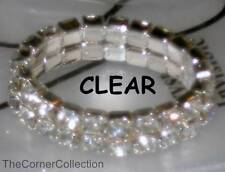 DOUBLE ROW CLEAR CRYSTAL SILVER-TONE STRETCH TOE RING