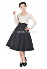 ROCKABILLY BLACK FULL CIRCLE SWING SKIRT 1950's EVENING PIN UP RETRO Club Party