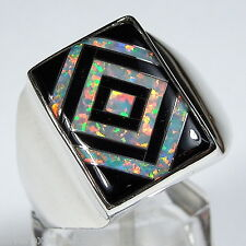 White Fire Opal & Black Jet Inlay 925 Sterling Silver Men's Ring Size 9 - 13