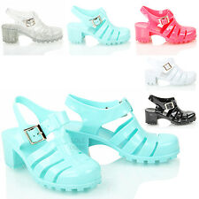Kids girls summer holiday strappy block heel buckle jellies jelly sandals size