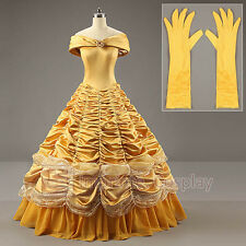 Adult Deluxe Princess Belle Dress Belle Cosplay Costume Ball Gown FREE P&P