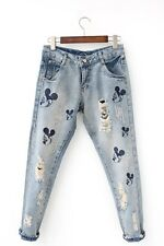 Ladies Women Mickey Mouse Ripped Jeans Cute Girls Frayed Pencil Jeans Pants