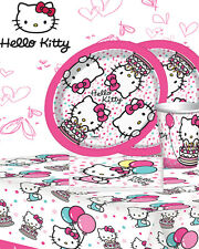 HELLO KITTY KIDS BIRTHDAY PARTY KIT 8,16,24,32 PLATES CUPS NAPKINS TABLE COVER