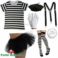 Ladies FRENCH MIME Fancy Dress Costume TShirt Beret circus artist Hen outfit