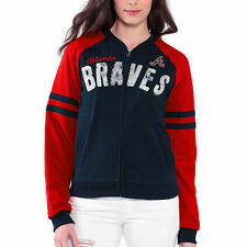 Atlanta Braves Women's Prime Time Full Zip Jacket - Navy Blue - MLB