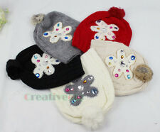 Fashion Winter Wool Ski Cap Colorful Rhinestone Knit Beanies Rabbit Hair Hat New