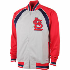 St. Louis Cardinals Stitches Poly Brushed Full Zip Track Jacket - Gray - MLB