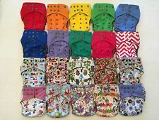 7 Happy Flute One Size All-In-One Charcoal Bamboo Cloth Diaper. Fit 10-40lb.