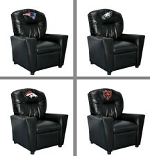 Choose NFL Team Young Child Kids Black Faux Leather Recliner Chair by Imperial