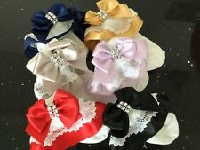 DIAMANTE BOW FRILLY FANCY LACE TOP SPANISH BESPOKE SOCKS JAZZIEJEMS BOUTIQUE