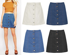New Ladies Womens A Line Denim Jean Skirt Button Front Mini Washed Jeans 8-14
