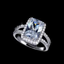 New Fashion 18K White Gold Plated Split Shank Crystal CZ Emerald CUT Ring R770