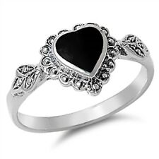 Beautiful Black Onyx Heart .925 Sterling Silver Ring Sizes 4-10