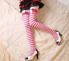 Sexy Fashion New Lolita Girl Striped Strawberry Bow Sock Stocking Over the Knee