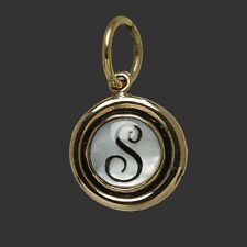 Waxing Poetic Mother of Pearl Insignia Brass Silver Charm Letter Q R S T U