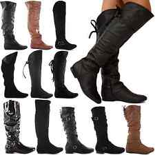 WOMENS LADIES BLACK FLAT HEEL OVER THE KNEE THIGH HIGH SUEDE LEATHER BOOTS SIZE