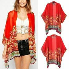Gypsy Bohemian Women Ethnic Red Floral Print Kimono Blouse Long Tops Cardigan