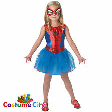Childs Girls Official Marvel Spider Girl Fancy Dress Party Halloween Costume
