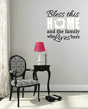 Wall Decals Bless This Home Family Vinyl Sticker Art Lettering 23x22-Inch 2Color
